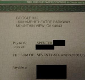 My First Google Adsense Check!