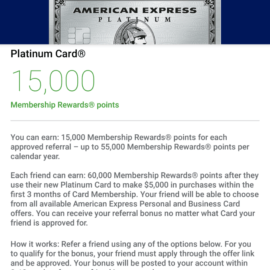 Share Your American Express Platinum Card Referral Links: Refer a Friend