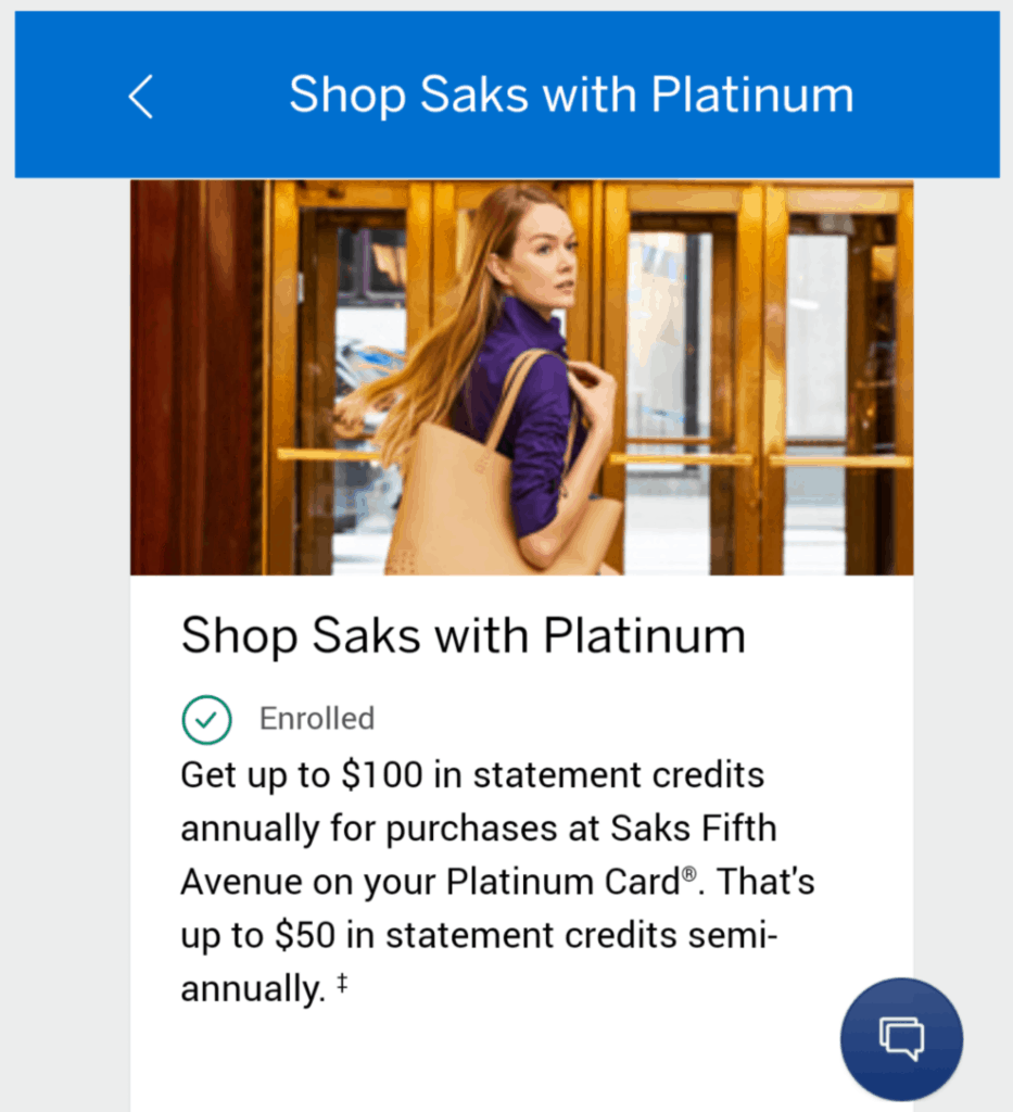 How long for the American Express Platinum Saks Fifth Avenue credit to post to your account?