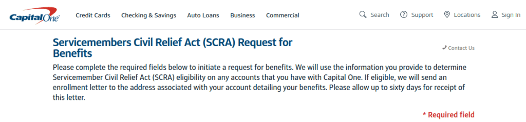 capital one scra request for benefits form