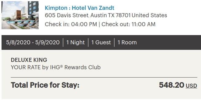 IHG Kimpton Hotel Van Zandt Austin Texas cost per night
