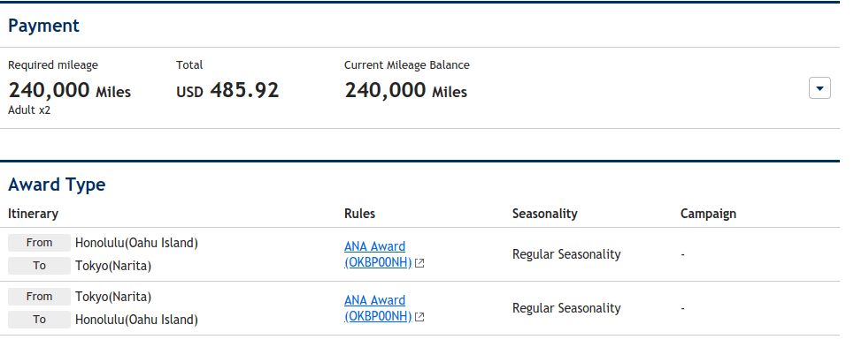 ANA booked with AMEX points