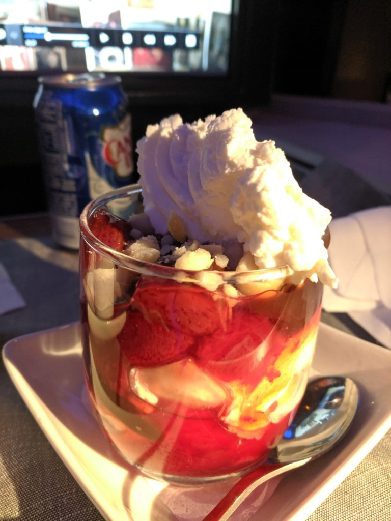 Ice cream sundae in American Airlines first class