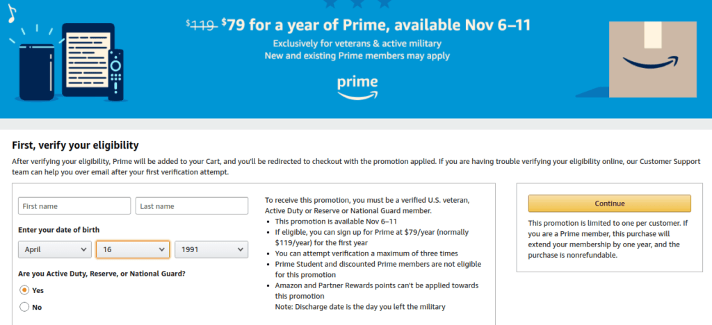 Amazon Prime military discount veterans day 2019