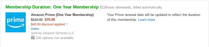 Amazon Prime One Year Membership Military